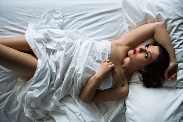 White Sheets Boudoir Photography Shoot