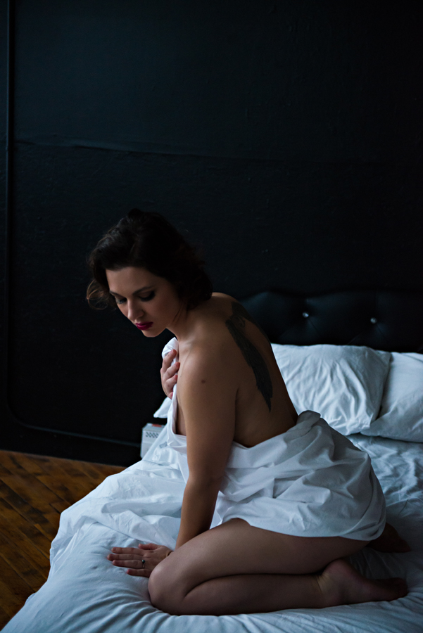 White Sheets Boudoir Photo Shoot