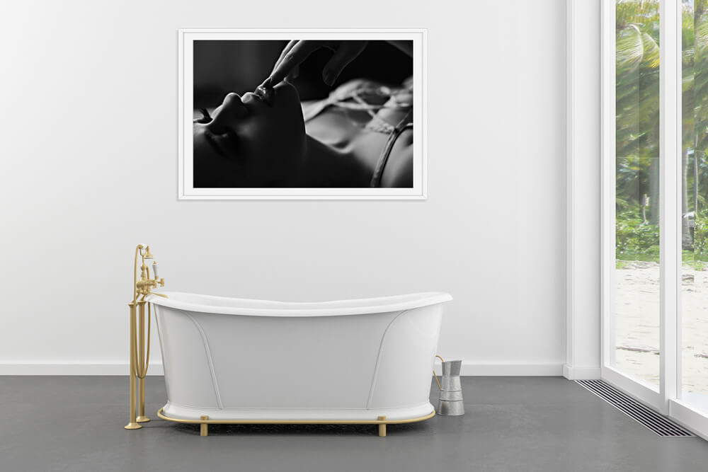 Black and White Boudoir Wall Art for Bathroom Over Tub