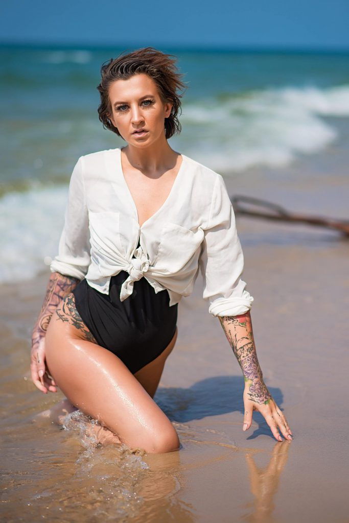 White Shirt Beach Boudoir Photo Shoot Lake Michigan (2)