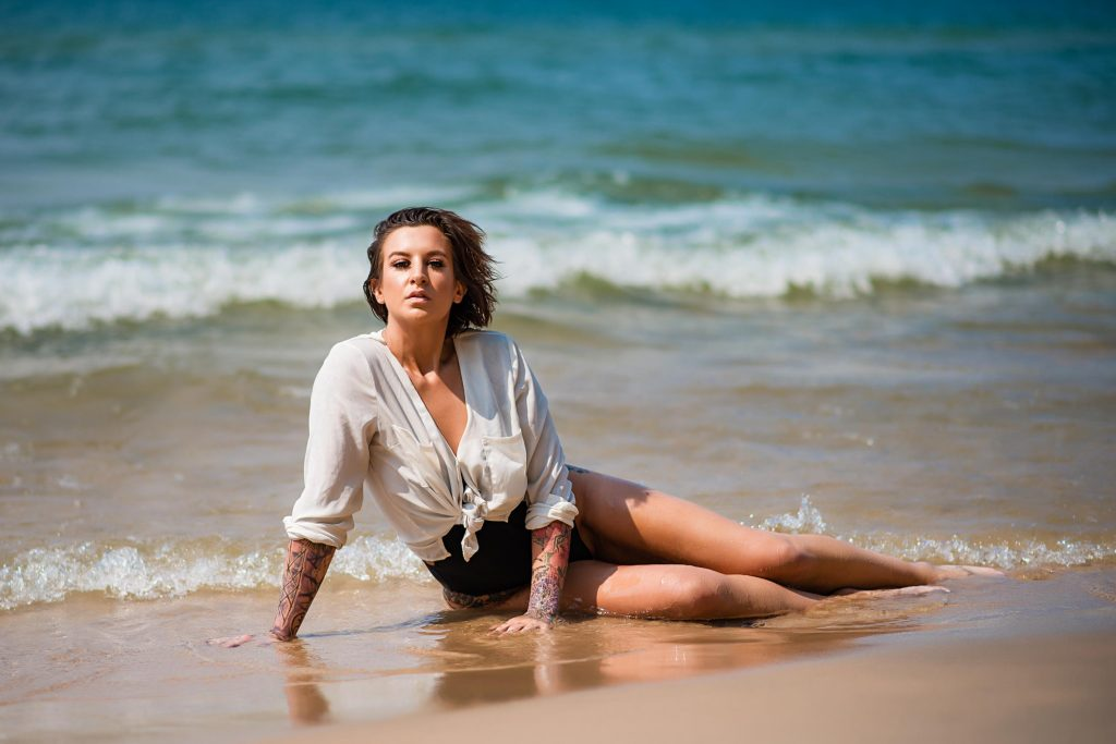 White Shirt Beach Boudoir Photo Shoot Lake Michigan (3)